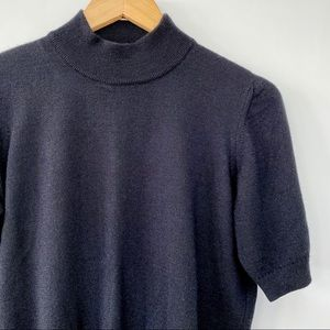 Rodier wool mock turtleneck with short sleeves